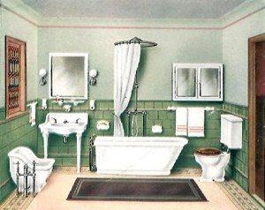 An ordinary-style tub—sloped at the head, flat and plumbed at the foot—was the most common, and affordable, early porcelain model.