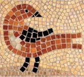 A bird motif appears in the kitchen's tile backsplash.