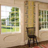 French wallpapers, reproduced for this house, include shimmering irisé or rainbow and meandering vine and paisley papers in  yellow and lavender.