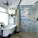 Handmade and hand-painted Delft-inspired tiles line the master bathroom shower.