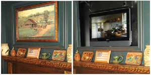 A custom installation from TV Coverups saves early paneling from anachronism. Room by the Workshops of David T. Smith.