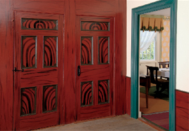 left: In the 1820s, grain painting was a popular decorative device,  sometimes refined in imitation of mahogany, other times bold, wild, and utterly fanciful. Red-and-black graining with turquoise woodwork? Wow! below: Architectural  wallpapers, a popular choice for hallways, used light and shadow  grisaille to create the illusion of three dimensions. English examples were often monochromatic, while French papers introduced color.