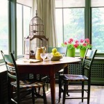 A bird's-eye view of the farm lies outside these casement windows in the dining nook.