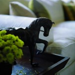 Mimran added personal touches, such as this bronze horse, to the interiors to reflect Robin's passion for all things equestrian.