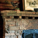 The massive fireplace is made of locally quarried stone.
