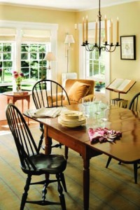 With the creation of the larger living room, the farmhouse's family room took on a new role as the Murrays' dining area.