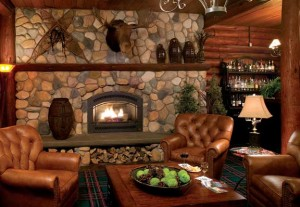 The fieldstone hearth in the lobby remains virtually unchanged from the resort's early days, right down to the moose head and snowshoes.