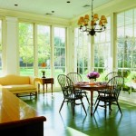 The breakfast room is furnished in Early American reproduction pieces.