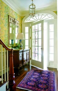 DeGan designed the interior moldings in this entryway, following details and proportions of nineteenth-century row houses in Beacon Hill.