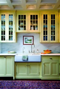Kitchen cabinetry resembles storage from the late nineteenth century.