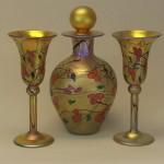 Gold California Poppy wine glasses and decanter, Carl Radke