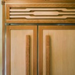 The Subzero fridge is covered with handmade panels Nathan created to match the cabinetry.