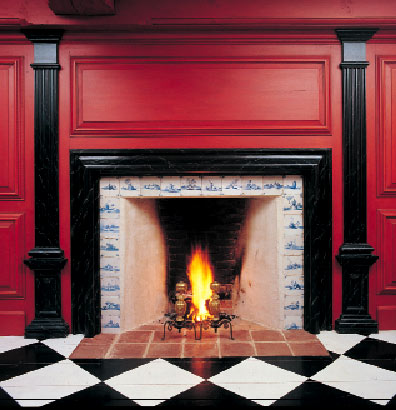 For much of the 18th century, most fireplaces lacked mantels; instead, the entire wall might be decorated with raised paneling.