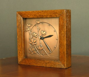 Copper and wood cherry blossom clock, James Mattson