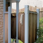 The outdoor shower of the Blue cottage displays the same post design found on its front porch posts.