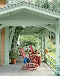 Details on the Green cottage porch reflect the Carpenter Gothic style of construction.