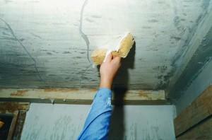 Scrubbing a calcimine ceiling