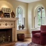 An upstairs bedroom's curved plaster window wells were rebuilt.