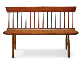 A spindled bench from Shaker Workshops shows the Shaker interpretation of Windsor style.