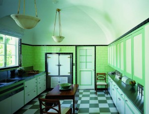 Early modular cabinets, such as these from circa 1930, were the first step toward making kitchen space more efficient, although the idea of recessed overhead cabinets that didn't impede counter space was yet to come.