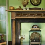 The previous owner found the salvaged Greek-key mantel near Albany.