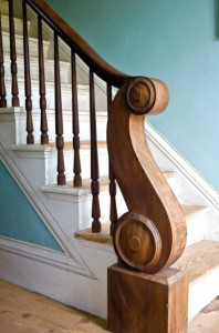 The scrolling staircase newel is a highlight of the interior.