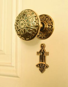 In the Victorian era, doorknobs and escutcheons, like everything else, went decorative. Such hardware is often called Eastlake style, although the tastemaker himself decried such excess. Richard Sexton photo