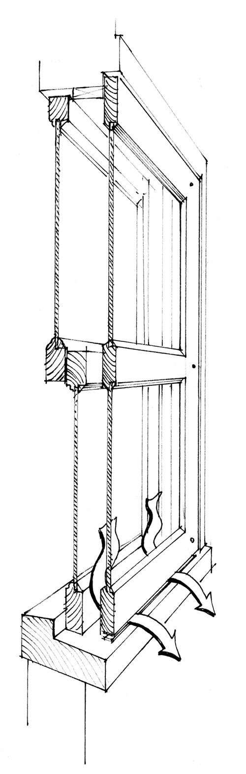 Storm windows should not form an airtight seal but, instead, incorporate weep holes or be raised on lead shims to let moisture escape.