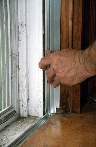 If you have existing flange weatherstrips, you can often replace damaged sections with new.  When you angle the bottoms of side flange weatherstrips to match the sill slope, you must also adapt the flange so it straddles the flange of the bottom strip, and probably trim where it meets the stool.