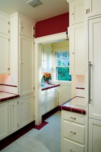 The floor border jogs around architectural elements, adding to the period feel.