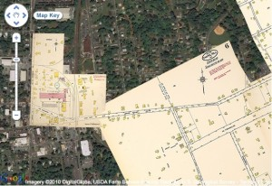 "Docsouth's ""Going to the Show"" project combined historic Sanborn maps of North Carolina towns with current Google satellite images."
