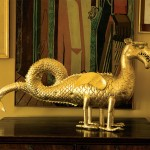 The original 16th-century gilded dragon weathervane is securely indoors now.