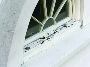 Bad design has ruined many an otherwise good repair, as in this example of a replaced wooden window sill that neglected to pitch away from the building, trapping water (and inviting rot) instead. Ray Tschoepe photo