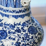 Blue-and-white Chinese porcelain is part of the collection. below