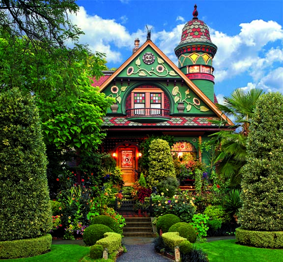 Creating colorful curb appeal for a fanciful victorian for Victorian garden house