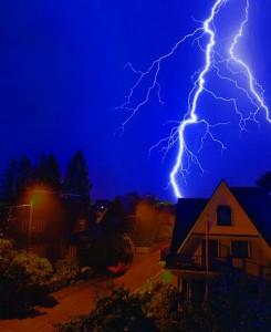 Lightning strikes a residential neighborhood