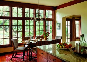 Open-plan kitchen and dining room