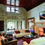 Living room with fir ceilings and limestone walls