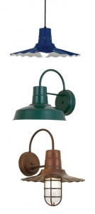 Three retro farm-style lights from Barn Light Electric.