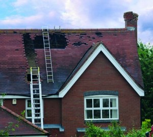 Damage to roof from a lightning strike