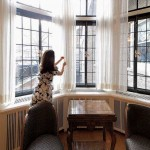 The dining-room windows are part of a rear bay that was also restored.
