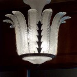 The floral motif continues inside the building, on a light fixture in the lobby.
