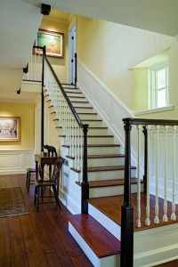 New balusters, newel posts, and railings were incorporated into the antique staircase.