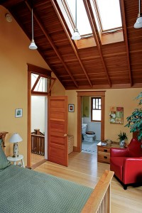 Tim raised the roof on the master bedroom and added skylights to create a bright, welcoming retreat.
