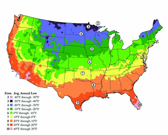 USDA Hardiness zone map courtesy of The National Arbor Day Foundation