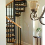 A decorative steel and wood stair from Salter Spiral Stair fits in a small space.