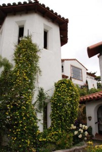 The stair tower, adorned with the vine Thunbergia alata 'Yellow Star,' is across the patio from the main house.