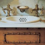 Nothing says vintage like separate taps, but this is a recent design in marble and faux bamboo by Victoria Hagan.