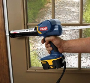 For viscous caulks or tough jobs, such as working overhead, several cordless caulk guns are on the market. What these power tools add in weight and cost, they make up for in speed and saved labor. (Photo: Ryobi Power Tools)
