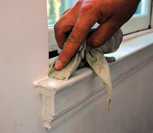 After laying in a bead of caulk, tool it to shape. Flexible latex caulk fitted this interior window stool project and was easy to work with and clean up using a water-soaked rag. (Photo: Peter Lord)